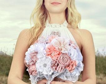 White blush bridal bouquet, lace bouquet, fabric flowers bouquet, wedding bouquet, peach bouquet, blush wedding
