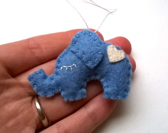 mini felt elephant ornament white blue heart Christmas decoration it's a girl for her Housewarming home decor eco-friendly nursery babyroom