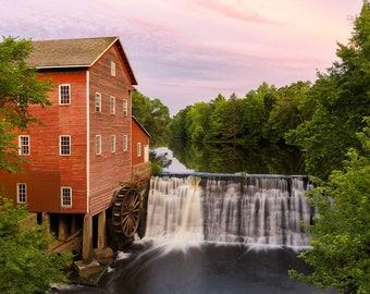 Wisconsin Photography, Dells Mill, Waterfall Art, Rustic Eau Claire, Augusta