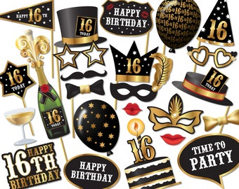 16th birthday Photo Booth props - Instant Download printable PDF. 16th birthday party decorations. Photobooth supplies. 16 Today - 0225