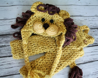 Baby Lion Costume - Lion Hat and Overalls Set - Lion Hat - Halloween Baby Costume Set - Lion Hat   - by JoJosBootique