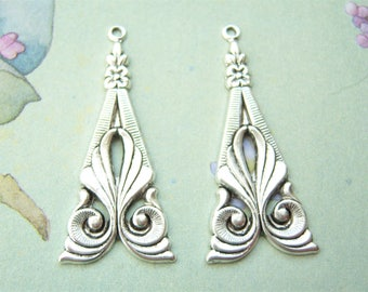 2 - Antiqued silver plated earring drop pendant  -- VB134