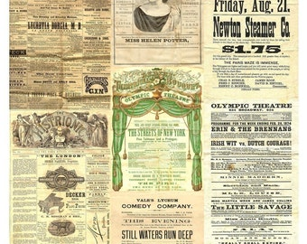 1800s Theater Playbills Collage Sheet - Backgrounds for Altered Art - Instant Download - Printable