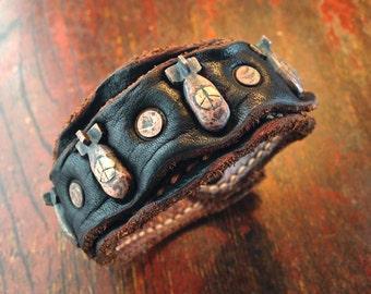 Leather Cuff Bracelet / Copper Peace Bomb