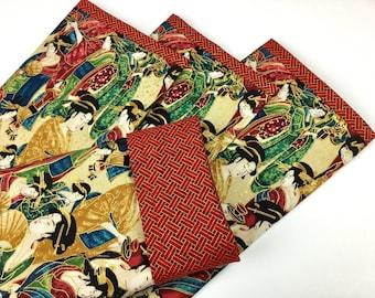 Set of 4 Large Mahjong Rack Sleeves ~ Okiya pattern ~ Mah Jongg