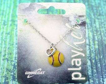 Customized Enamel Softball Heart Necklace - Personalize with Softball Jersey Number, Letter, or Heart Color! Great Softball Gift!