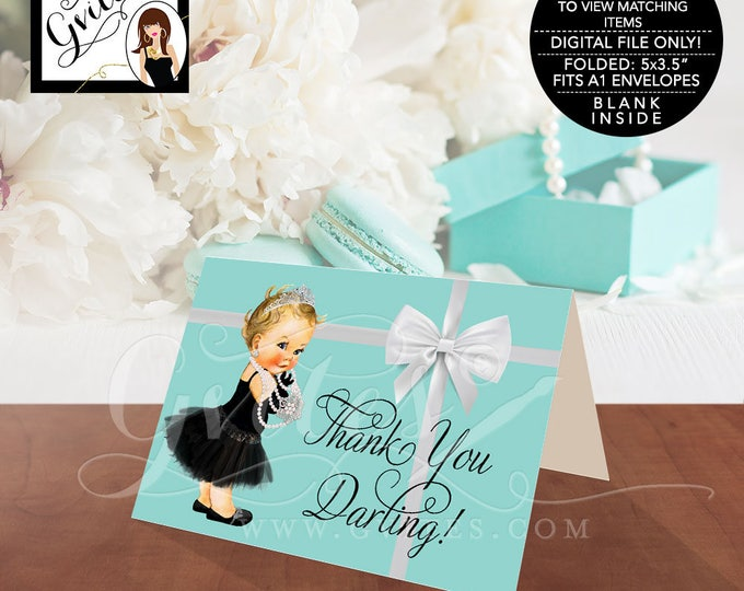"Baby Shower Baby and Co Thank You Cards, Audrey Hepburn Party Themed Printable, DIGITAL FILE ONLY!  5x3.5"" 2 Per/Sheet"