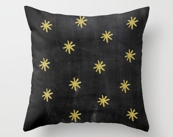 Gold Stars Velveteen Pillow - Gold Pillow - Gifts for Her - Black Pillow Cover - Stars - Black Pillow - Rustic Decor