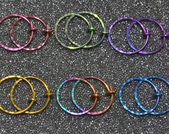 "Niobium 1/2"" (12 mm) Hammered/Textured Hoop Earrings - Choose a color!  20 g. Piercing jewelry, completely nickel free and hypoallergenic."