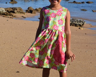 Floral 'V Back' Dress with front pockets, handmade on Kauai, Hawaii