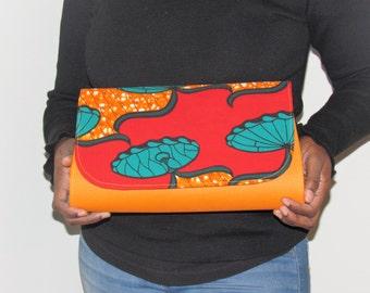Orange African Print, Ankara Clutch (LAC2)