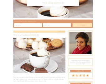 "Wordpress Theme, Responsive, Wordpress Blog Template, Genesis Child Theme, Clean, Lifestyle, Baking, Food, ""Coffee & Cream"""