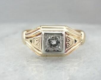 Lignes géométriques épurées, diamant Vintage bague 4L1KP9