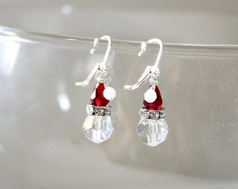 Unique,Stocking Stuffers,For Women,Santa,Swarovski Earrings,Santa's Hat,Holiday Earrings,Christmas Gift,For Her,for Friend,For Coworker