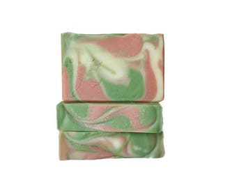 Cherry Blossom Olive Oil Soap - Gift For Her - Artisan Swirled Soap - Delicate Floral Fragrance - Pink