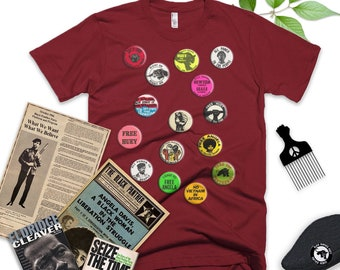 Black Panthers Short-Sleeve Shirt // BPP // Huey Newton // Angela Davis // Buttons // Pins // Black Pride // African American // Culture