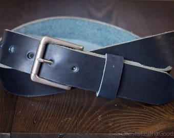 "Custom sized belt - 1.25"" width - Horween Dublin leather - heel bar buckle, cobalt blue"