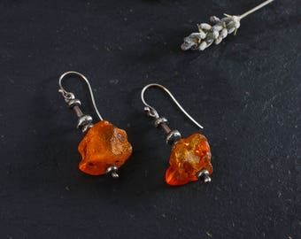 Amber earrings: Sterling silver drop earrings - Baltic amber - Valentines gift  for her - Silver amber jewellery - Oxidized silver earrings
