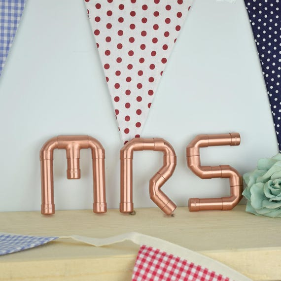 MR und MRS Copper Letters Wand Buchstaben dekorative