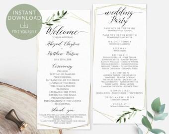 Wedding Program Printable Greenery Elegant Foliage Olive Gold Hexagonal Order of Service Editable PDF Wedding Program Ceremony Template