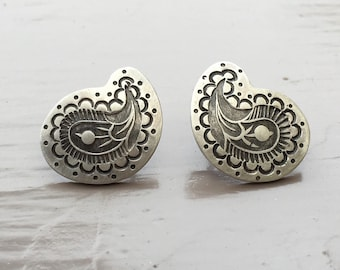 Paisley stud earrings in silver, stamped, hand stamped, posts,