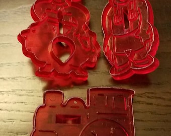 Vintage Set of 3 Red Plastic Cookie Cutters Cowboy, Indian and Train