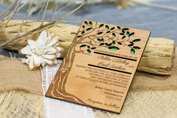 Laser Cut Wood Wedding Invitations: Tree Wedding Invitation Wooden Forest Invitation Laser Cut