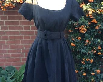 1980's Black Belted Dress by Monix