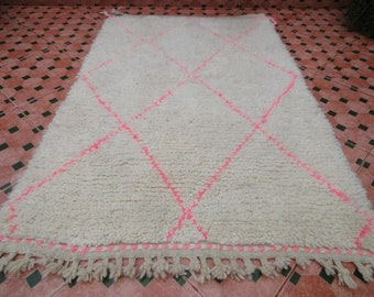 pink beni ourain rug authentic vintage 100% WOOL MOROCCAN BERBER
