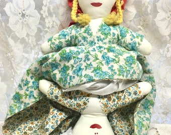 Vintage Topsy-Turvy Doll. Little Red Riding Hood. Soft Cloth Doll in Vintage Fabric.