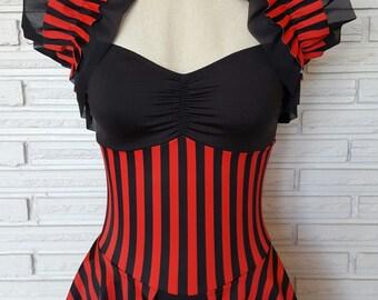 Cirque Noir Stripe Leotard, Opera Shrug, Costume, Custom Size