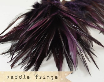 LAPIS PURPLE - Rooster Saddle Fringe Feathers - coque saddle - soft, pointy tipped, feather trimming