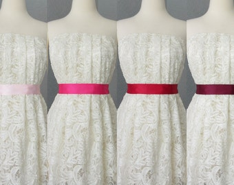 Wedding Bridal Double Faced Satin Ribbon Sash Pink, Fuschia, Red and Burgundy