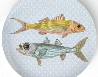 Fish, ruby snapper, bulls-eye plate
