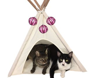 DT Home Furnishings cat tent , dog tent, pet teepee tent portable, washable, durable by solid wood and canvas