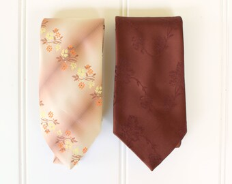 Vintage Neck Ties - Brown Multi - Flowers - Golden Clasp - Prince Consort - Superba - Polyester - Madmen - Vintage Tie Sale
