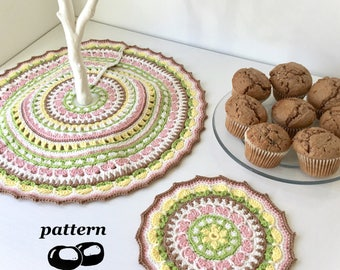 Crochet Mandala and Tree Skirt Pattern / Easter Spring Mandala Pattern / Twig Tree / Spring Petals Cherry Blossom Primroses / Seasons Table