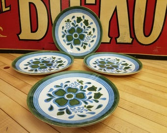 Four Vintage 1960u0027s Blue Green White Floral China Dessert Plates & Vintage Blue Church Offering Bag with Wooden Handles from