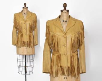 Vintage 50s FRINGE JACKET / 1950s - 60s Buttery Soft Deerskin LEATHER Western Jacket Xs - S