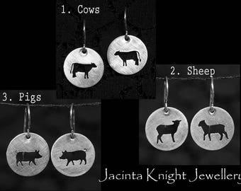 Sterling silver cow, pig or sheep earrings