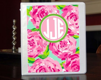 Roses Personalized Monogram Notebook Insert for 3 Ring Binder or Printable