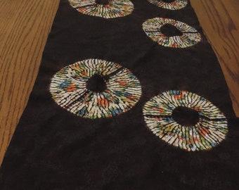 Table runner/ shibori/ dark brown/ multicolor karamatsu/ Japanese kimono silk