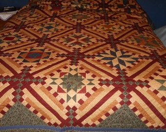 Kansas Troubles Queen Size Hand Quilted Quilt