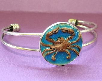 Crab Bracelet - Bezel Cuff - Epoxy Clay - Nautical Collection