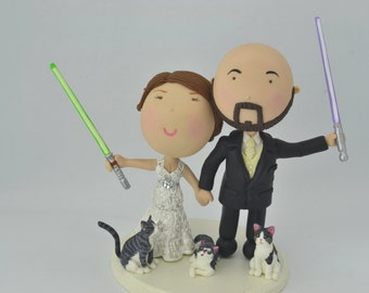 Jedi couple holding hands. Bald groom. Pet cats. Star Wars Themed Wedding. Handmade. Fully customizable. Unique keepsake