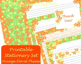 Printable Floral Stationery, Lined Paper, Letter Writing, Orange Flowers, Instant Download,