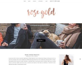 NEW - Rose Gold - Premade Blogger Template - Responsive Blogger Template - Feminine Blogger Template - Minimalist Template -Blogger Template