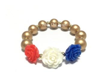 Toddler or Girls Patriotic Flower Small Beaded Bracelet - Girls Red, White, Blue, Gold Bracelet - Triple Rose Bracelet - Patriotic Bracelet
