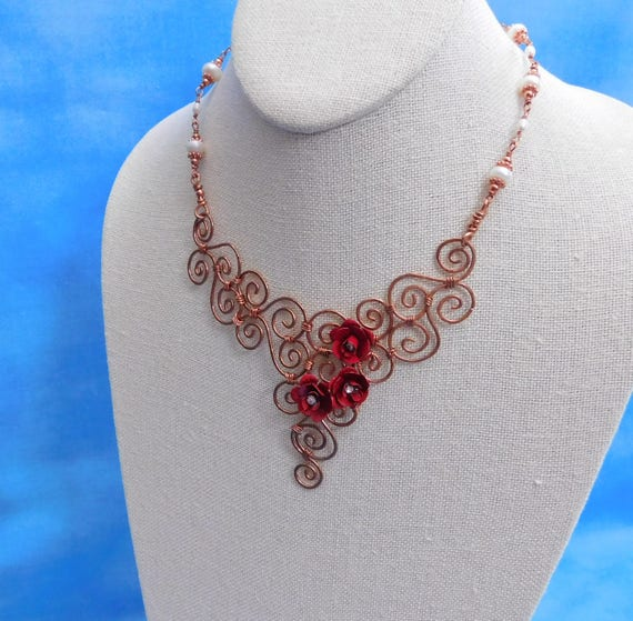 Bib Necklace Statement Jewelry Artistic Handmade Unique Wire Wrapped Artisan Crafted Copper Scroll Work with Red Roses and Freshwater Pearls