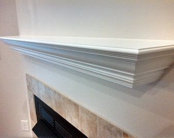 white fireplace mantel shelf. Fireplace Mantel Shelf Floating Wall Rustic  Distressed White or The Duke
